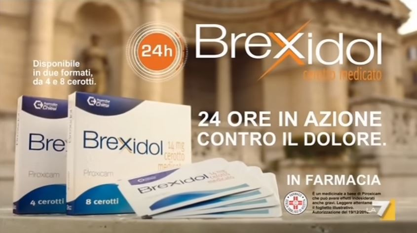 Modello Brexidol pubblicità cerotto antinfiammatorio con Foto - Testimonial Spot Pubblicitario 2017