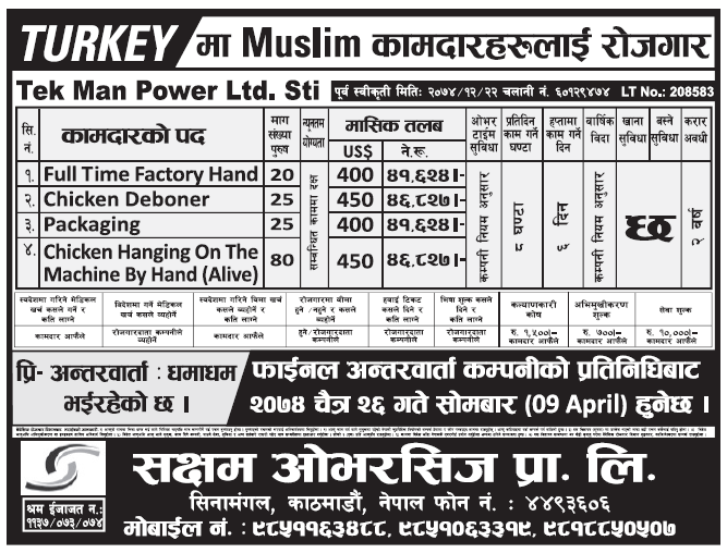 Jobs in Turkey for Nepali, Salary Rs 46,827