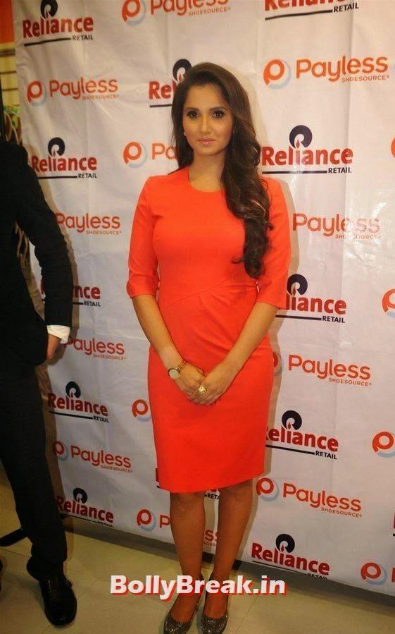 Telugu Actress Sania Mirza, Sania Mirza Hot Pics in Red Midi Dress