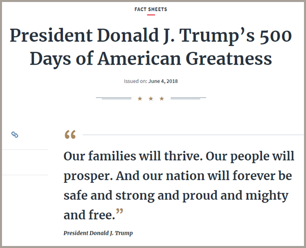 screen cap of top of document, with text reading: 'FACT SHEETS | President Donald J. Trump's 500 Days of American Greatness | Issued on: June 4, 2018 | 'Our families will thrive. Our people will prosper. And our nation will forever be safe and strong and proud and mighty and free.' - President Donald J. Trump'