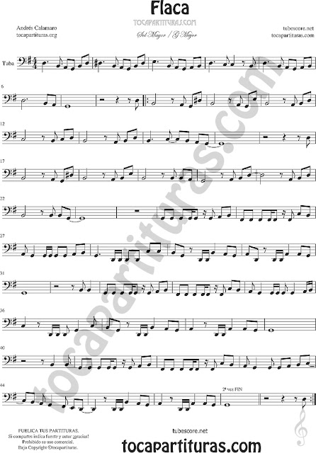 Flaca Partitura de Tuba Flaca Sheet Music for Tuba