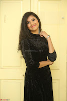 Mounika in a velvet short black dress for Tick Tack Movie Press Meet March 2017 093.JPG