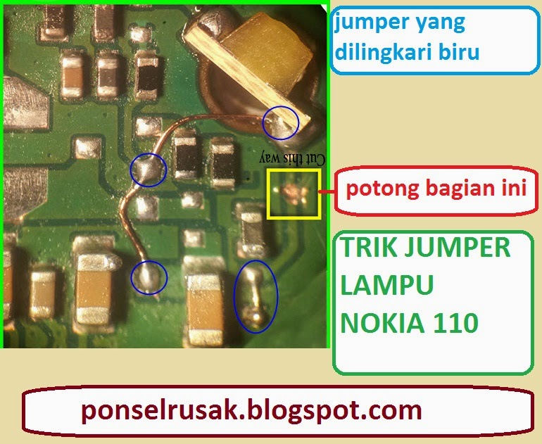 How to troubleshoot a dead lampiu Nokia 110 damage with an explanation.