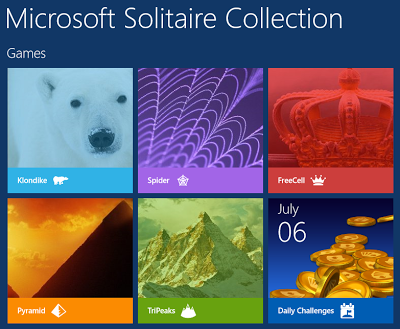 available solitaire games in windows 8