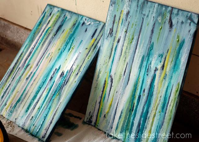 Blue Canvas Art Diy: Take The Side Street: DIY Drip Painting