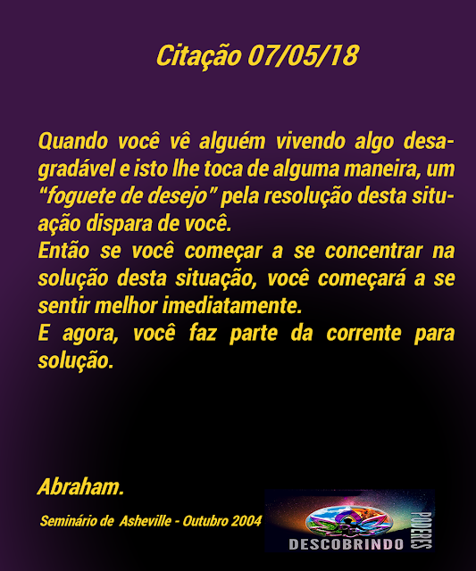 Citação Diária Abraham - Citação do Dia 07/05/2018