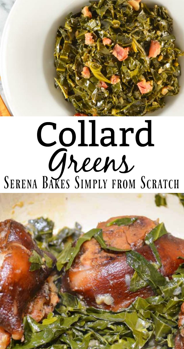 Collard Greens simmered Southern-style with ham hock, red pepper flakes, and chicken broth. Recipe from Serena Bakes Simply From Scratch.