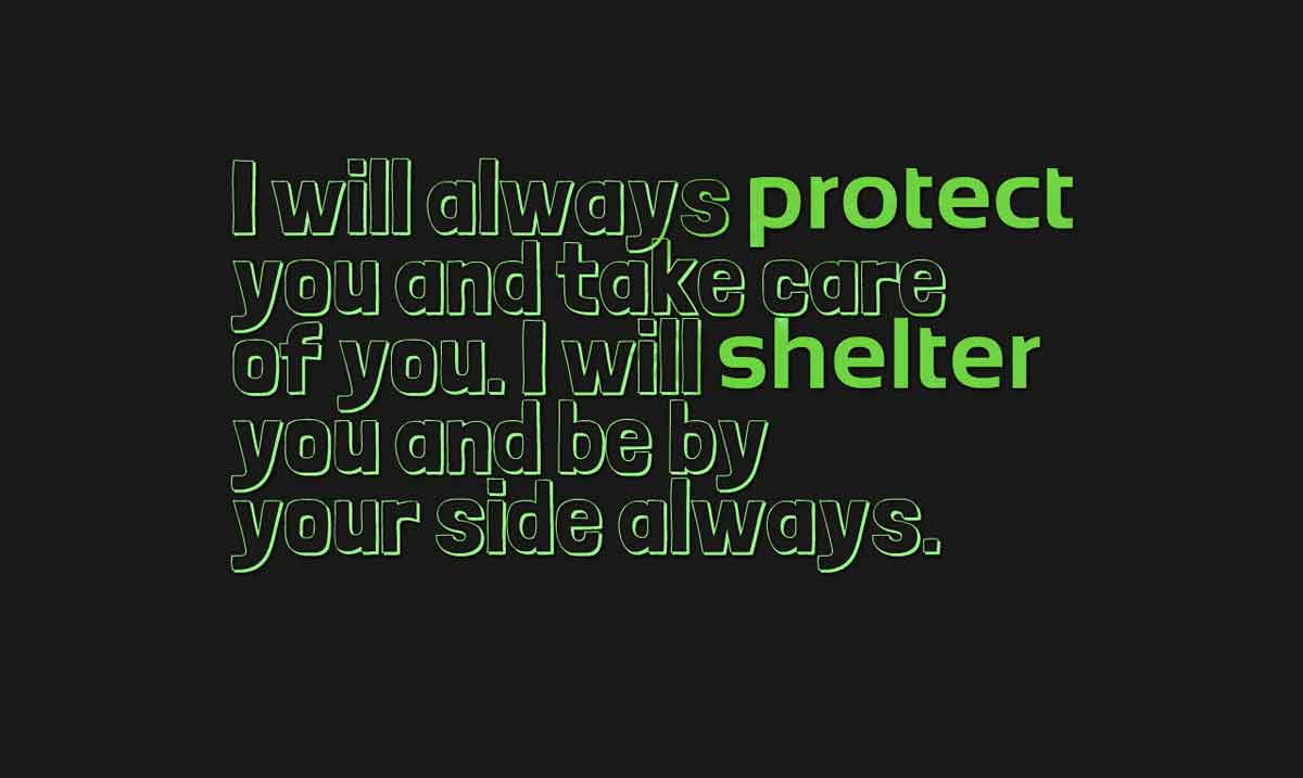 I will always protect you and take care of you. I will shelter you and be by your side always.