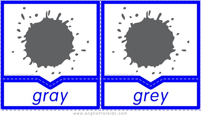 Printable colors flashcards - gray vs. grey - ESL printables