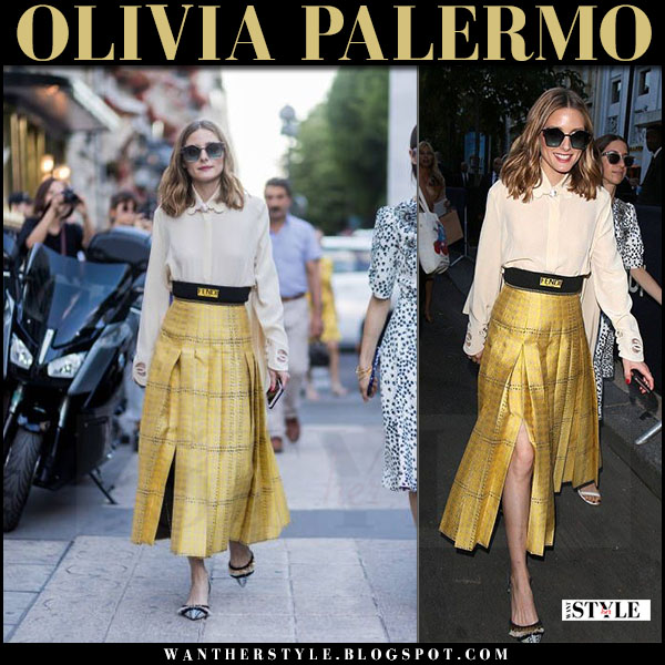 Olivia Palermo in cream blouse, yellow pleated skirt with fendi logo belt what she wore july 5 2017 paris