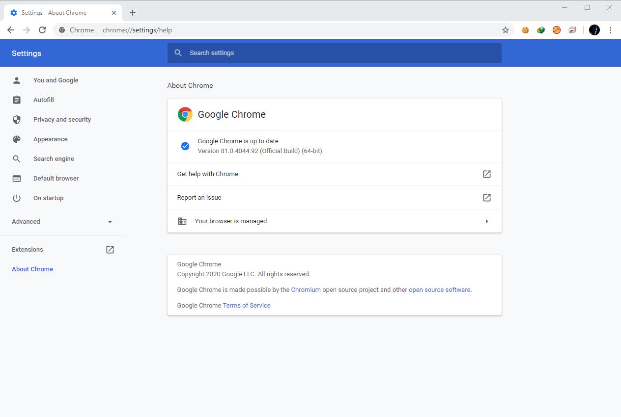 Google Chrome Browser 81.0.4044.92