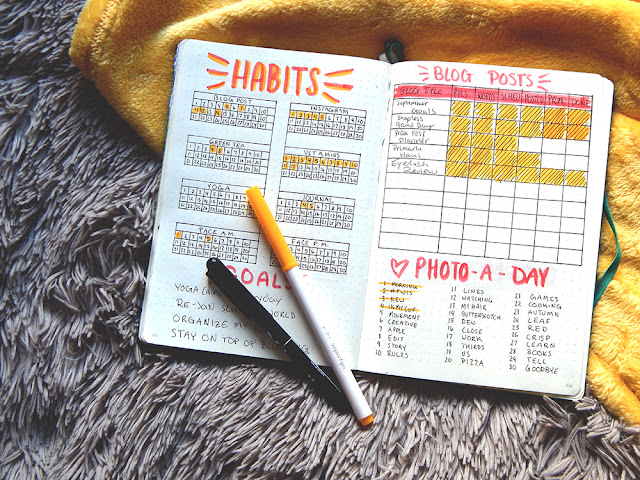 Bullet journal set-up September Habit tracker and blog planner