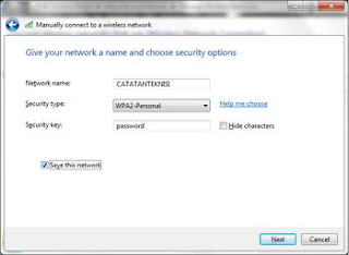 network and security option wifi ad hoc