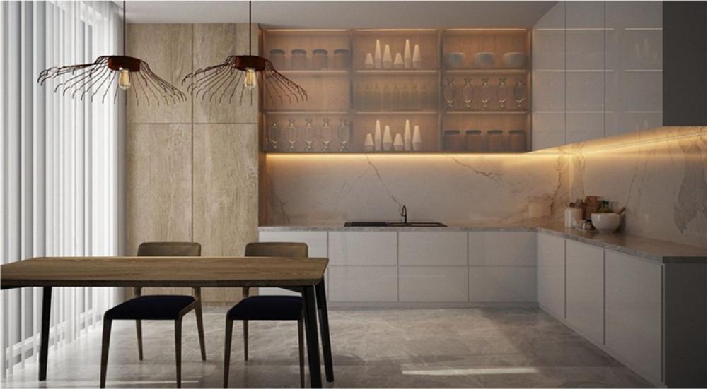 dapur rumah dengan lampu led