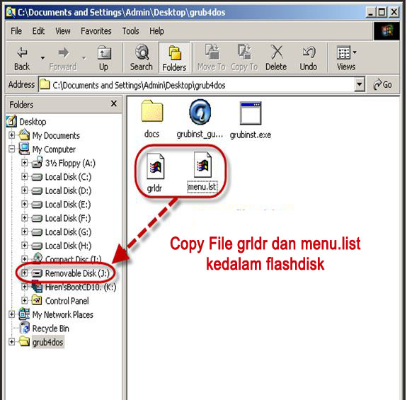 mengcopy folder gldr dan men.lst