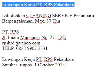 Lowongan Kerja Pt Rps Pekanbaru Karir Riau
