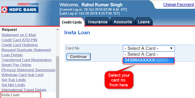 Select card for Insta Loan HDFC