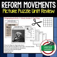 Reform Movements Picture Puzzle,  TEST PREP, UNIT REVIEWS, TEST REVIEWS, and STUDY GUIDES