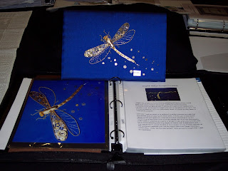 dragonfly embroidered with metal threads and small gears