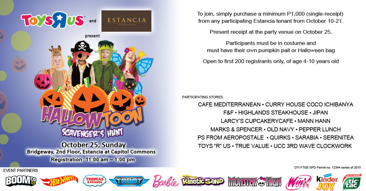 Manila Shopper 2015 TrickOrTreat Events  Halloween Parties in the Metro
