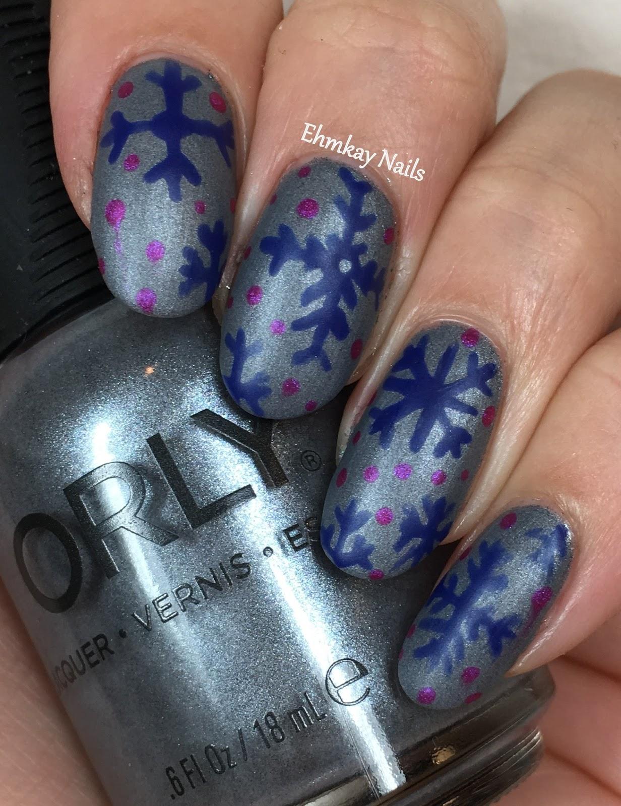 Ehmkay Nails Shy Bunny Easter Nail Art: Ehmkay Nails: Orly Sunset Strip Holiday 2016 Snowflakes