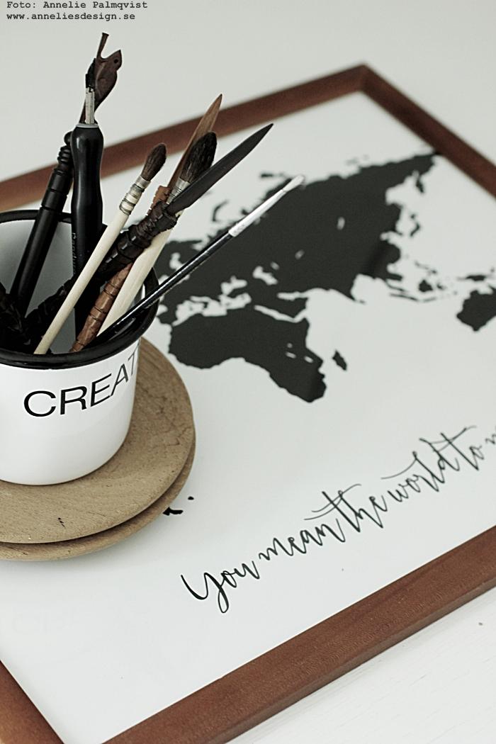 världskarta, världskartor, annelies design, webbutik, webshop, nettbutikk, plakat, plakater, konsttryck, annelie palmqvist, karta, kartor, svartvit tavla, svartvita tavlor, poster, med text,