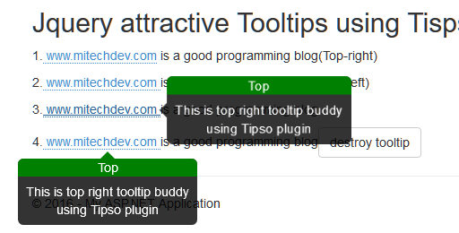 How to display attrative tooltips using Tispo jquery plugin in mvc5