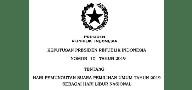Hari Libur Nasional PEMILU Tanggal 17 April 2019