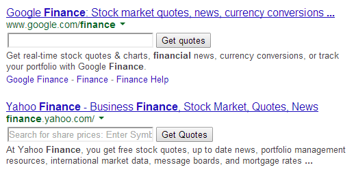Google's Experimental Search Box for Financial Sites