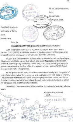 300L UNILORIN student who gained admission with WAEC papers he got through exam malpractice writes school asking to withdraw