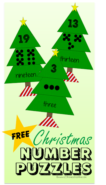 FREE Christmas Number Puzzles - Educational activity to help preschool, kindergarten, and 1st grade kid practice counting and number words one to twenty (cool math games, homeschool, math activity, Christmas)