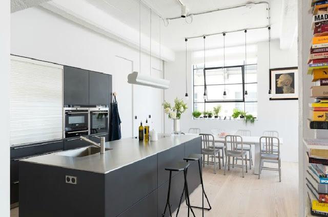 Noir blanc un style for Cocinas tipo americano modernas