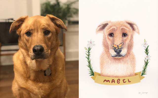 Mabel reference photo next to colored pencil and watercolor portrait