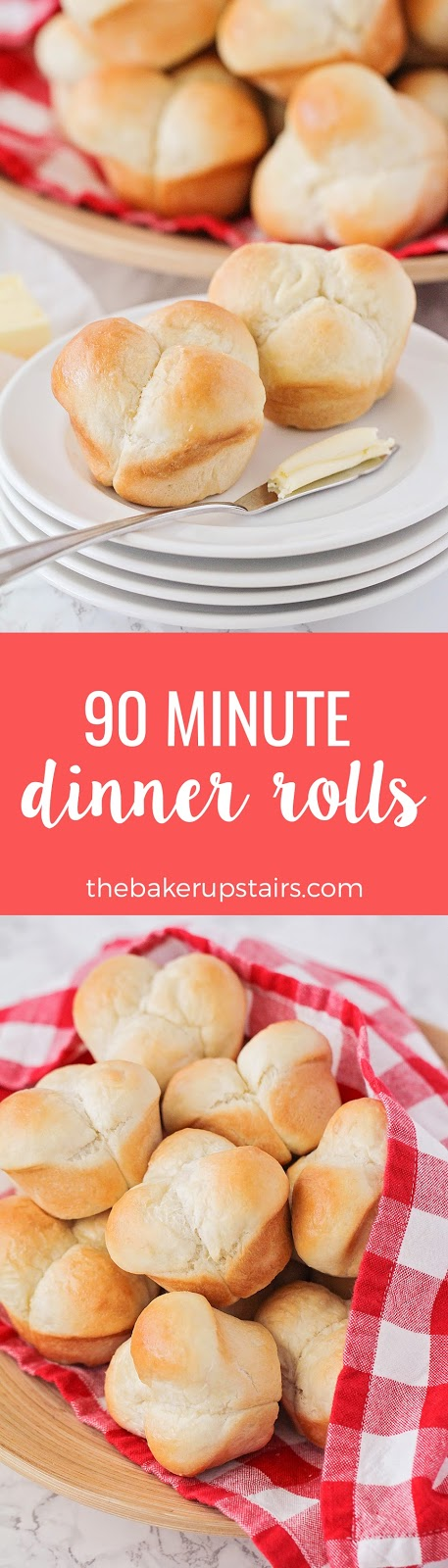 These 90 minute dinner rolls are so light and fluffy, and taste amazing!