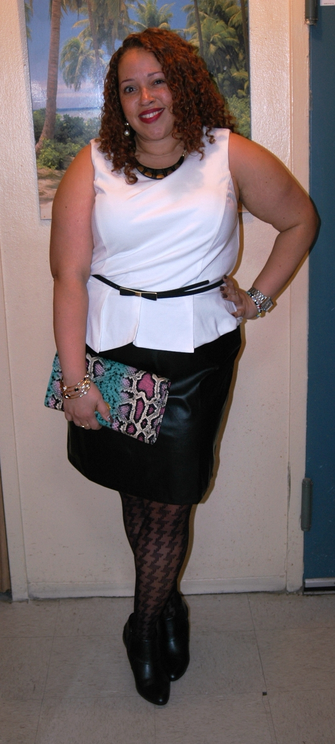 505b84bb6d680 The faux leather skirt part is made of a stretchy material so it hugs you  in all the right places and actually feels like real leather.