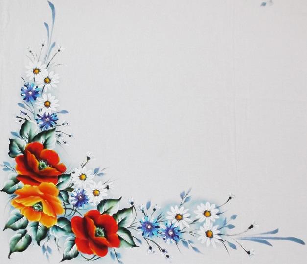 pintura em tecido papoulas