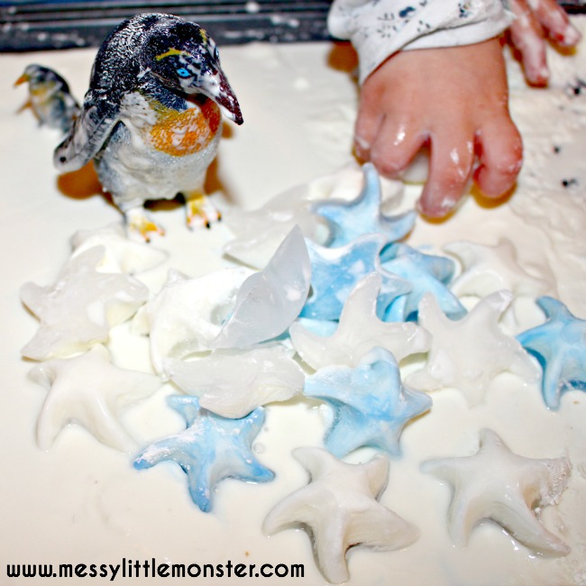 Penguin small world. Create a winter scene using frozen oobleck.  Sensory play for kids, toddlers, preschoolers, eyfs.