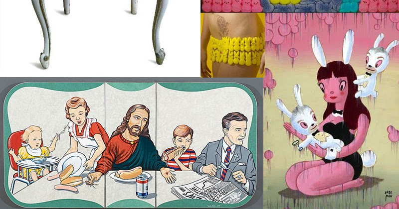 Easter Eye Candy. Art and Pics of Peeps, Bunnies and Modern Versions of The Last Supper.