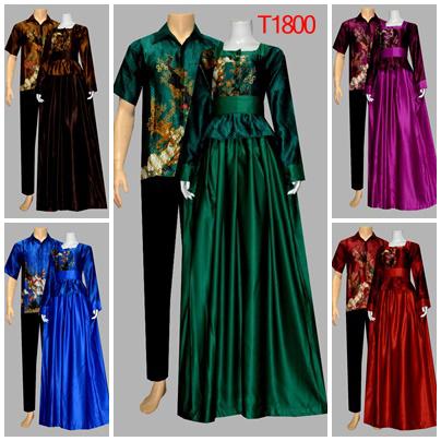 Baju Batik Sarimbit Gamis Semi Sutra T1800