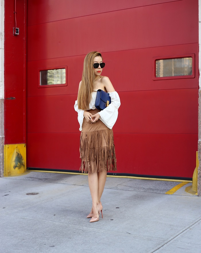New Look Suedette Fringe Skirt, renamed off shoulder top, karen walker harvest sunglasses, celine classic box bag, chanel necklace, christian louboutin so kate pumps, fashion blog, trends, nyc, t and j glam, t and j designs