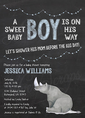 Chalkboard, Bunting & Rhinoceros Custom Baby Girl Shower Sprinkle Invitation - Grey Gray Rhino Chalk Pink Peach Lavender white black string hearts banner bunting sweet cute boy blue aqua sweater lavender purple horns Matching Back Side floral flowers yellow gold flower buds