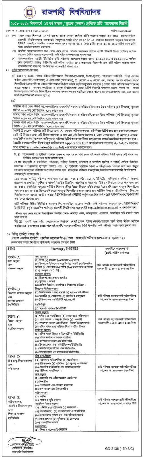 University of Rajshahi Admission Test Circular 2018-19