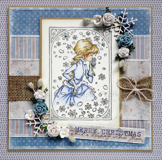 Shabby chic Christmas card using Winter girl from LOTV