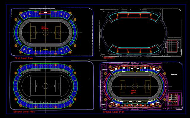 13 Gambar Stadion Olahraga DWG Gratis