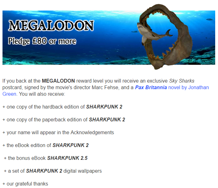 Sharkpunk however there is still one limited reward and that is the megalodon reward which includes a very special reward that fans of sky sharks will want to get fandeluxe Images