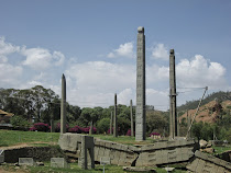 Mysterious stelae field (graves underneath) at Aksum, Collapsed stelae in front weighed 520 tons!