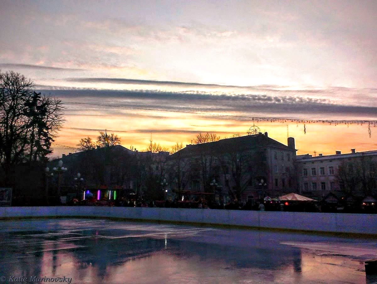 The frosty sky and skating rink
