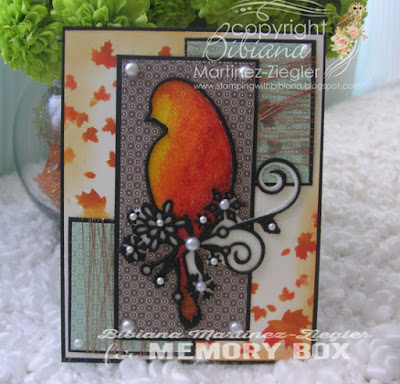 fall glitter bird card