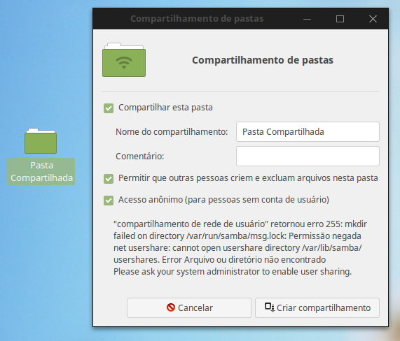 Compartilhamento de pastas do Linux Mint Cinnamon