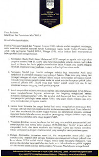 Pengurus FOBA Minta Maaf Karena Undang Ahok di Acara Maulid
